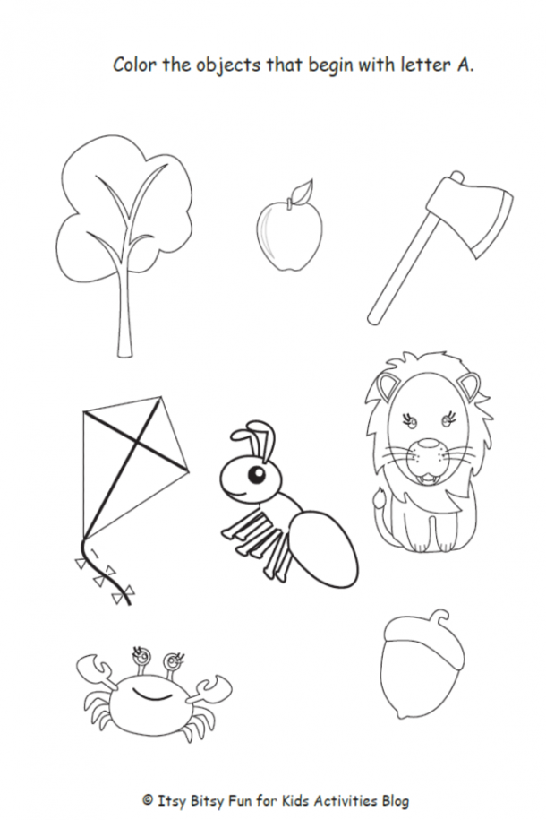 letter a worksheet and coloring sheet
