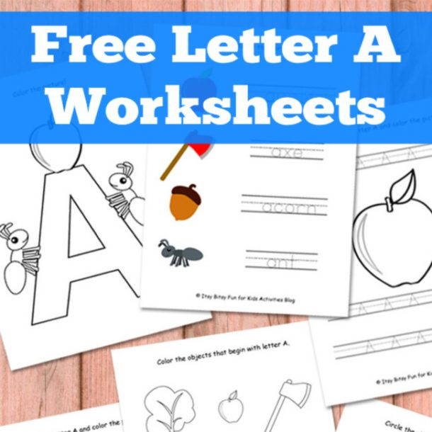 letter a worksheets, tracing sheets, and coloring pages