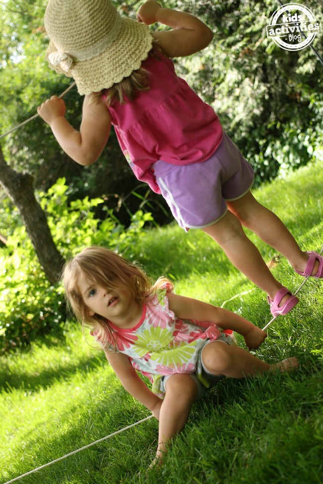 backyard tightrope for toddlers and preschoolers