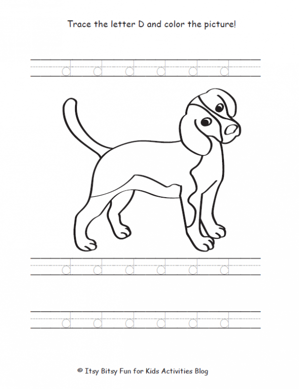 Lower Case d worksheet with a dog