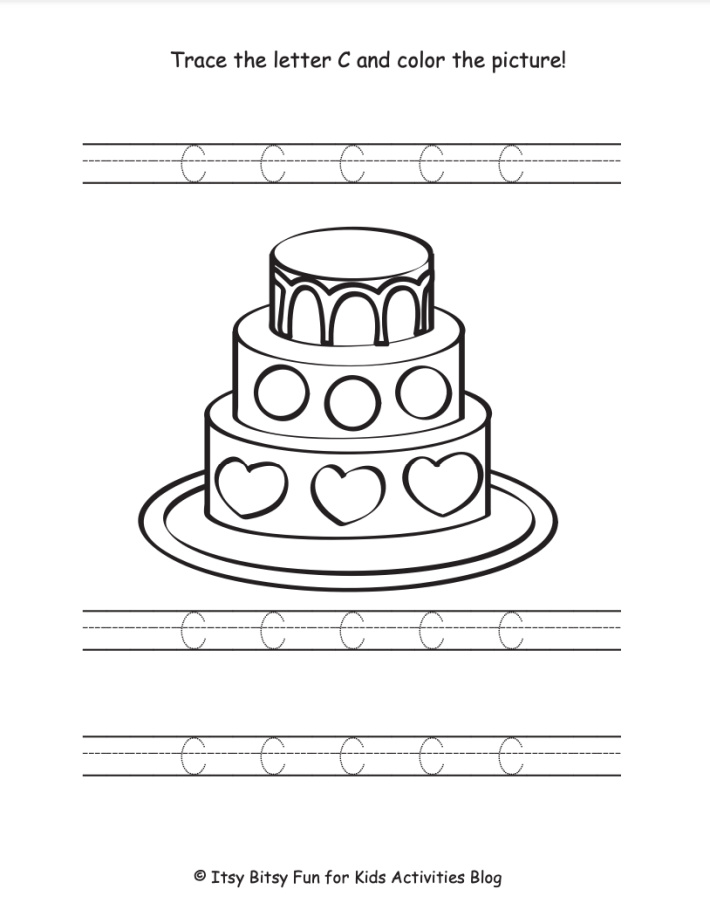 Trace the Uppercase Letter C and color the cake worksheet - Kids Activities Blog - pdf shown