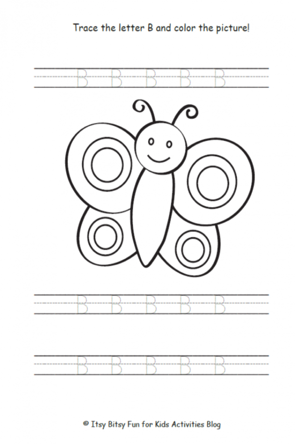 Trace the uppercase letter b and color the picture of the butterfly
