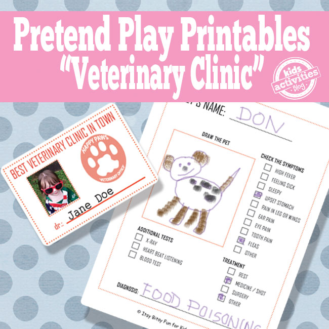 Veterinary Office Pretend Play Free Kids Printable- with id and health form