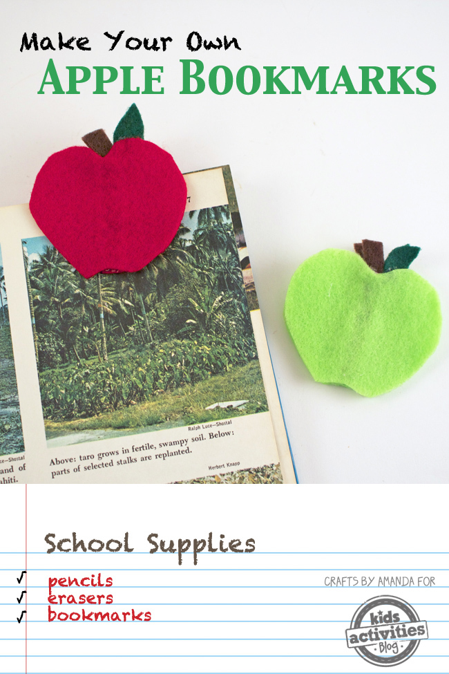 Apple Bookmark Craft for Back to School