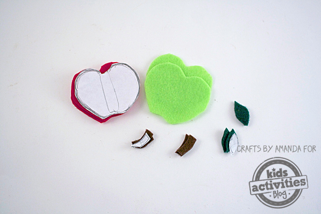 Cut red and green felt to match your paper template.