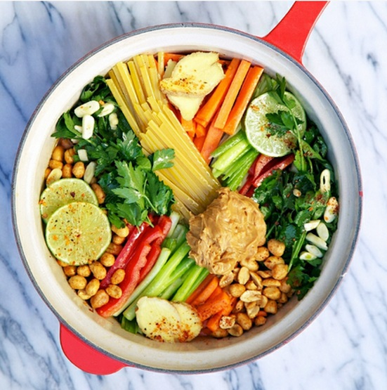thai 1 pot pasta recipe rom Apron Strings - all ingredients in the one pot before cooking - colorful veggies