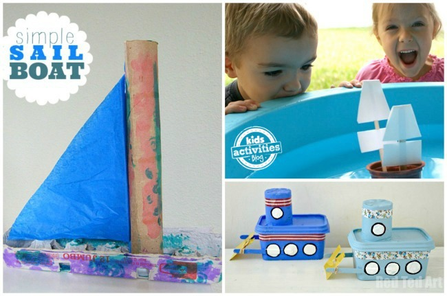 recycled sail boat, applesauce cup boat, plastic tug boat