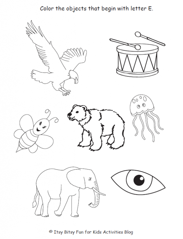 color the objects that begin with letter E