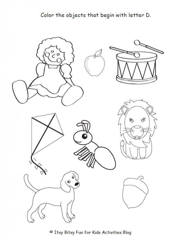 color the objects that begin with letter d