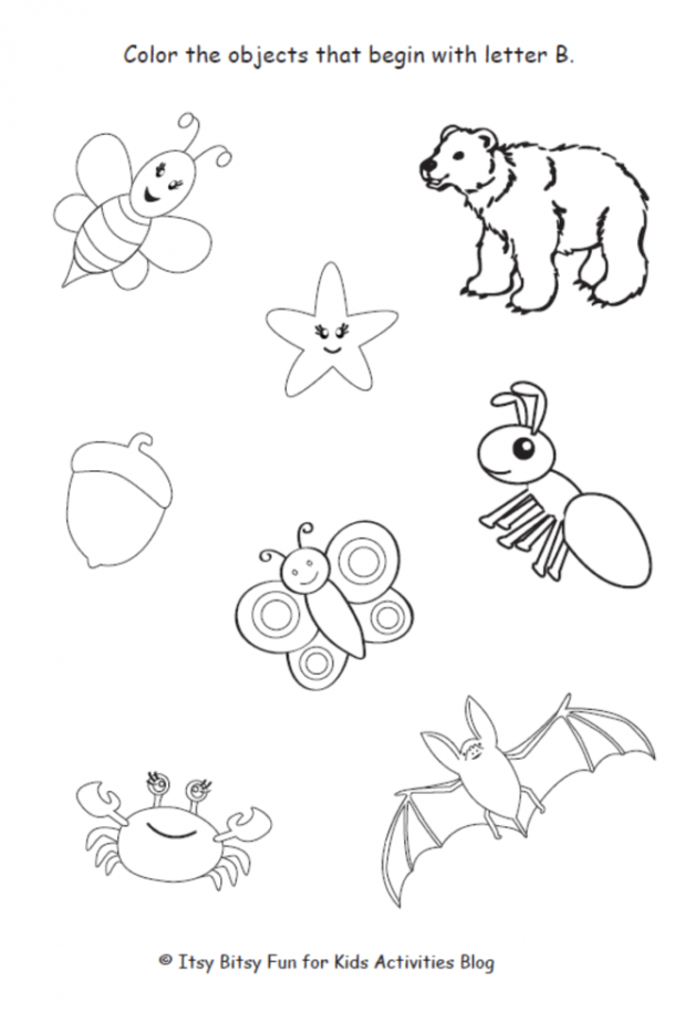 color the pictures that begin with the letter b