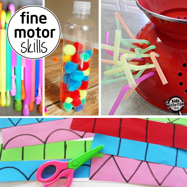 fine motor skills for preschoolers which is important for writing and spatial skills - shown are 4 play ideas that will increase a child's fine motor abilities