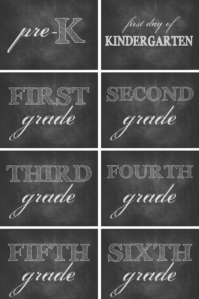 Free Printable First Day of School Photo Signs Displaying Grades Including UK & Aus