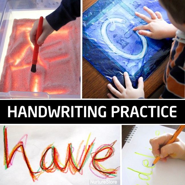 handwriting practice as a part of homeschool preschool curriculum - shown are 4 handwriting activities appropriate for preschoolers