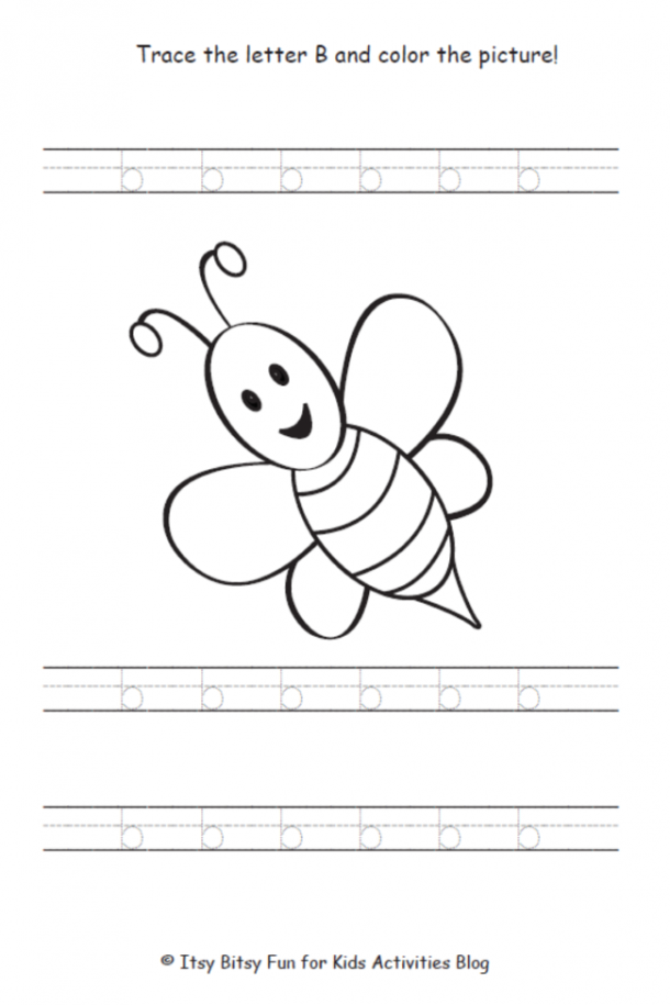 trace the lowercase letter b and color the picture of the bee