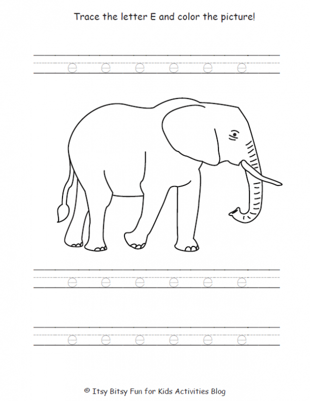 trace the lowercase letter e and color the picture