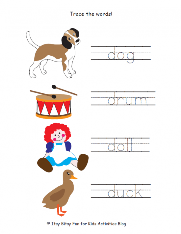 trace the words that start with d: dog, duck, doll, and drum