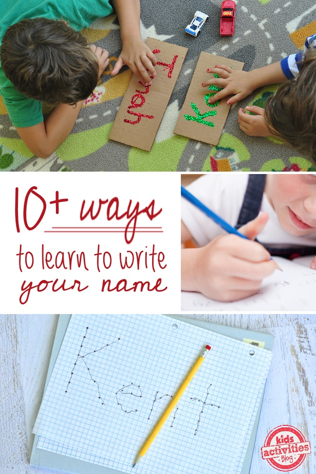 Name activities for preschool kids like connecting dots and glitter and glue writing.