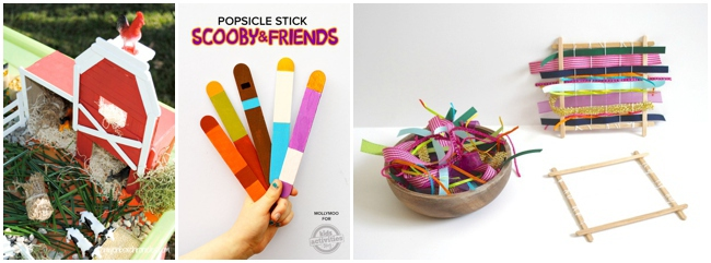 30 Children's Popsicle Stick Crafts for kids - 3 shown including weaving with popsicle sticks
