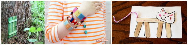 30 Children's Popsicle Stick Crafts for kids - three shown including bracelets