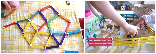 30 Children's Popsicle Stick Crafts for kids - popsicle stick building toy and fences made with craft sticks