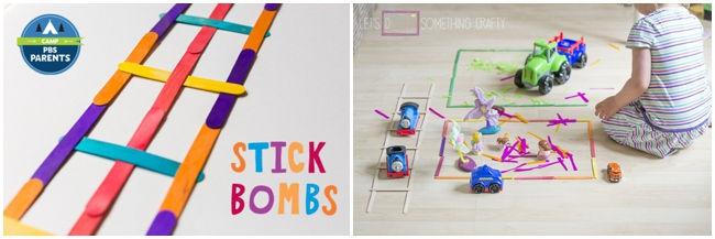 30 Children's Popsicle Stick Crafts for kids - 2 projects shown including stick bombs