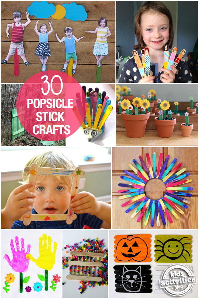 30 Popsicle Stick Crafts for kids - 10 different popsicle craft ideas shown including puppets, plants and frames