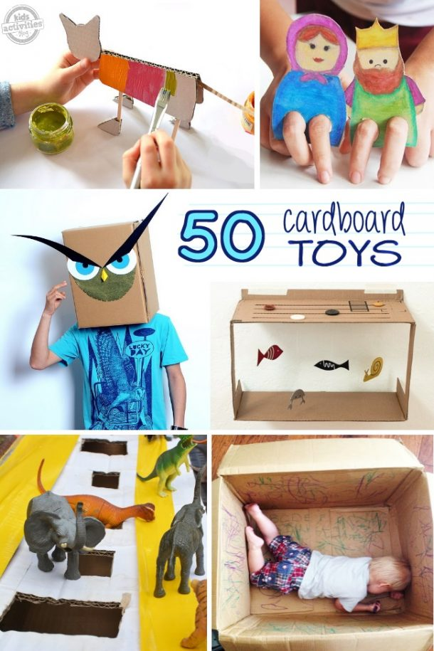 collage of cardboard toys projects for kids