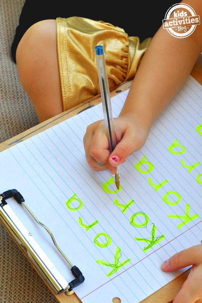 Name writing doesn't have to be hard. First write your childs name with highlighter then trace it