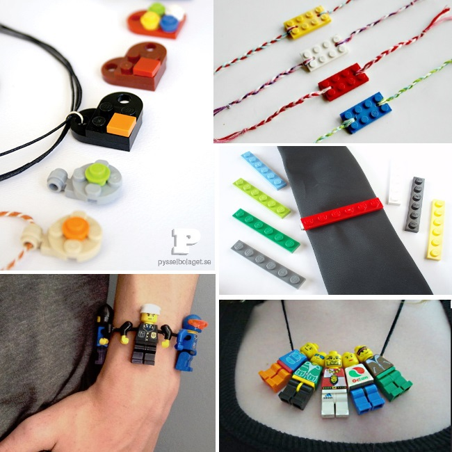 Lego Accessories to wear - images of 5 LEGO brick building ideas that double as jewelry or a tie clip