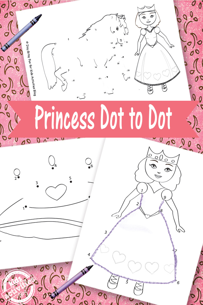 Princess Connect the Dots that has a lovely princess, a tiara, and a pony.