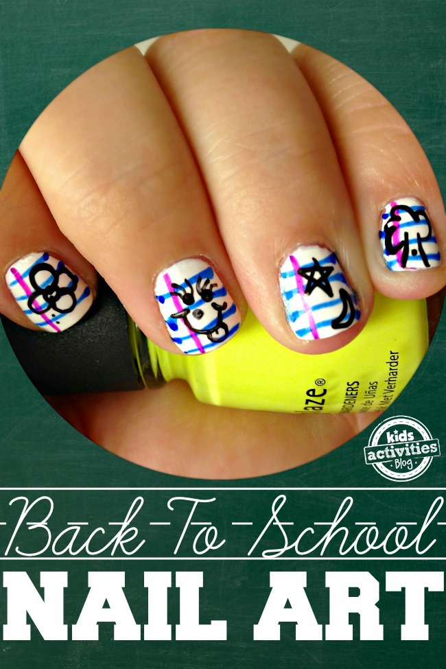 Back To School Nails! Notebook Paper Nail Art