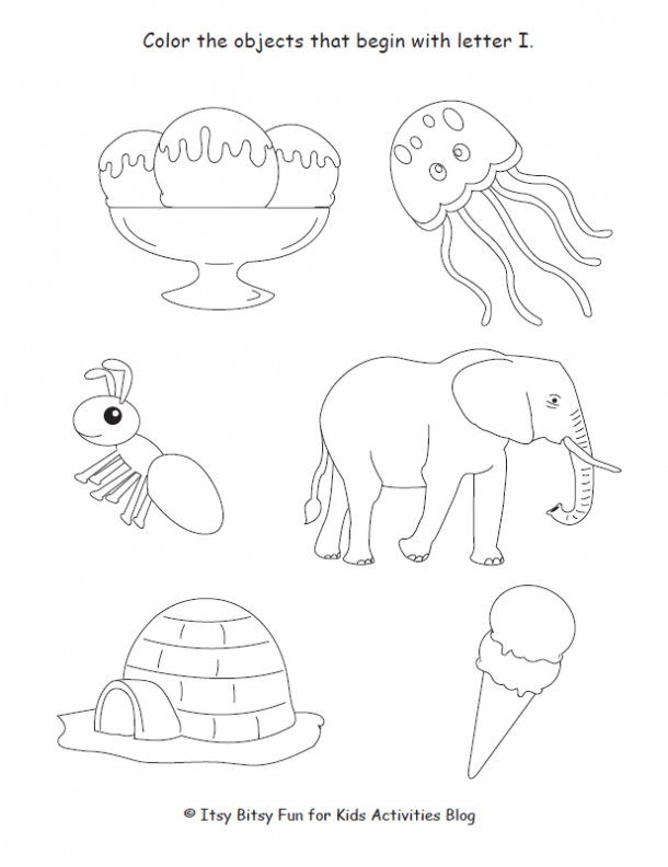 color the objects that begin with letter I