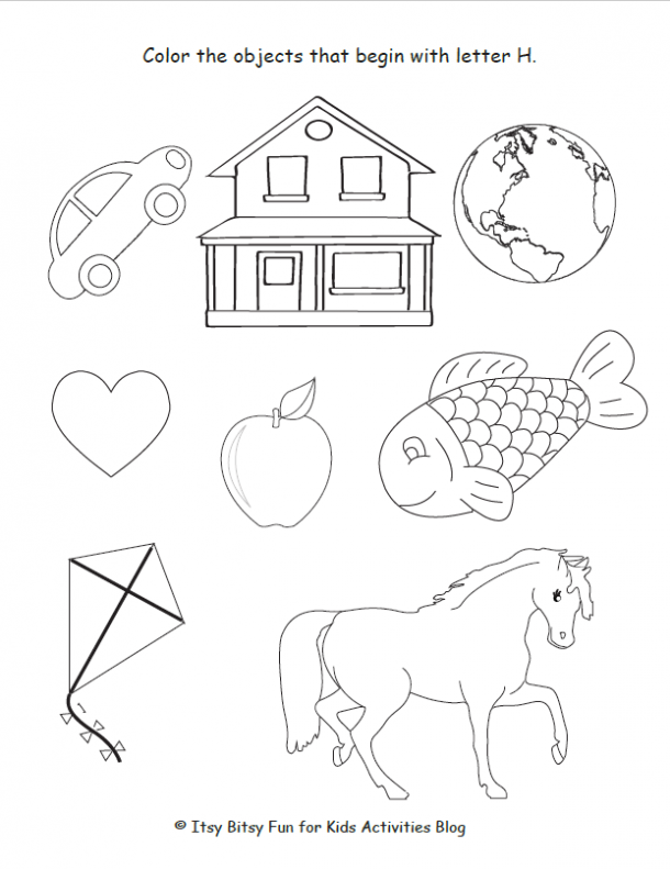 color the objects that begin with letter h