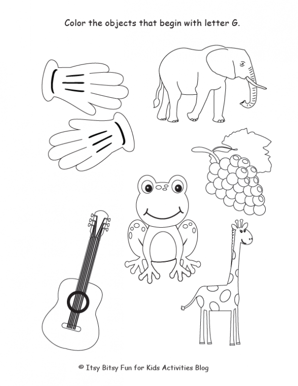 color the objects that begin with the letter G