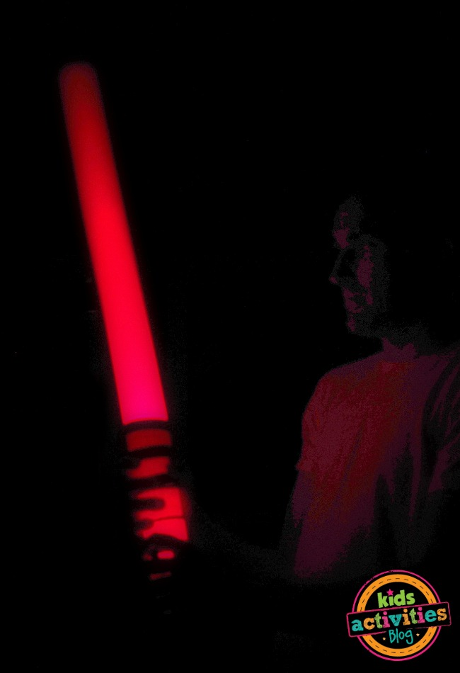 Add a kyber crystal (lightsaber crystal) to your red lightsaber by using a flashlight in side in and watch it glow in the dark and light up everything.
