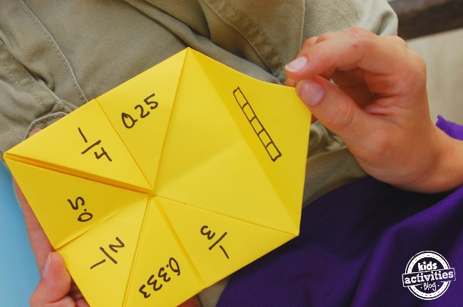 fractions math game using a piece of paper - great for reviews