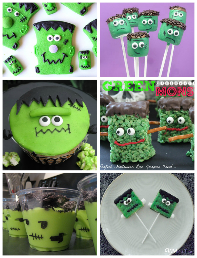 Frankenstein recipes- green and black frankenstein: cookies, marshmallow pops, cupcakes, rice krispies, pudding, and cake pops.
