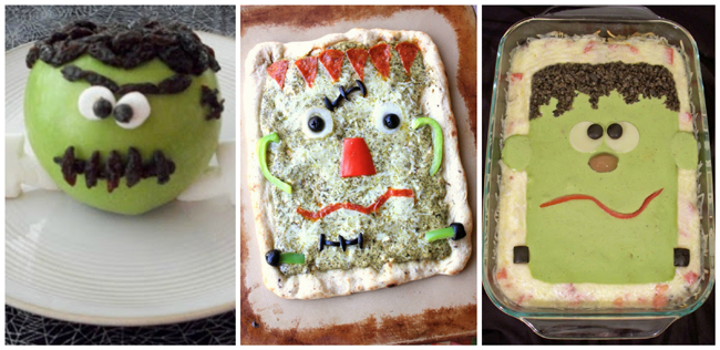 25 Recipes for Kids- like a frankenstein apple with a face, a frankenstein pizza, and lasagna