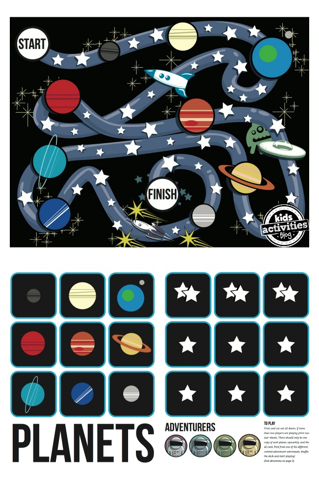 Out of this World Free Printable Galaxy Board Game for Kids