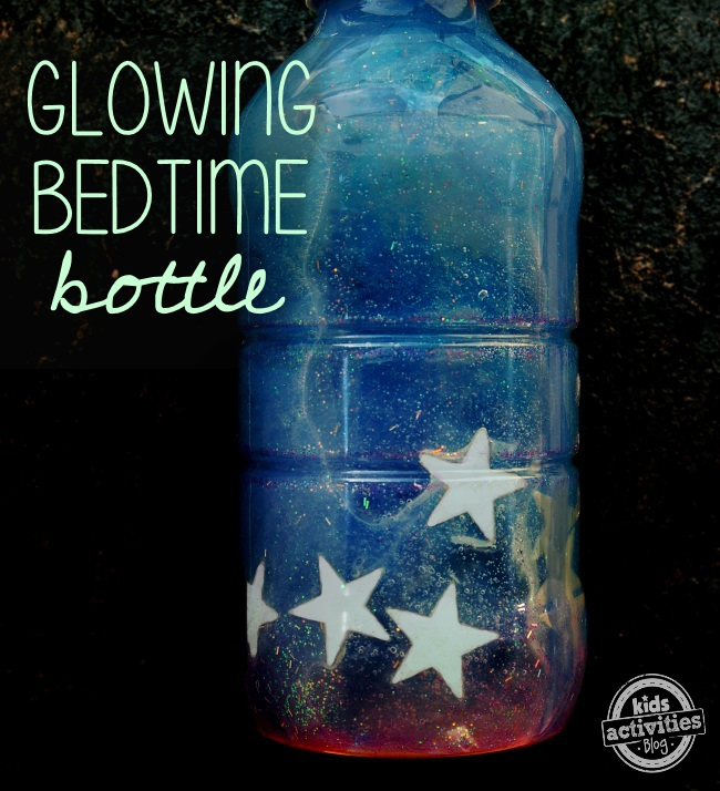 Space activities for kids - starry sky glowing bedtime bottle