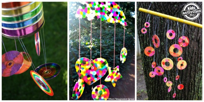 3 outdoor ornaments to make with kids - recycled CD wind chime, melted bead suncatcher wind chime and nuts wind chime