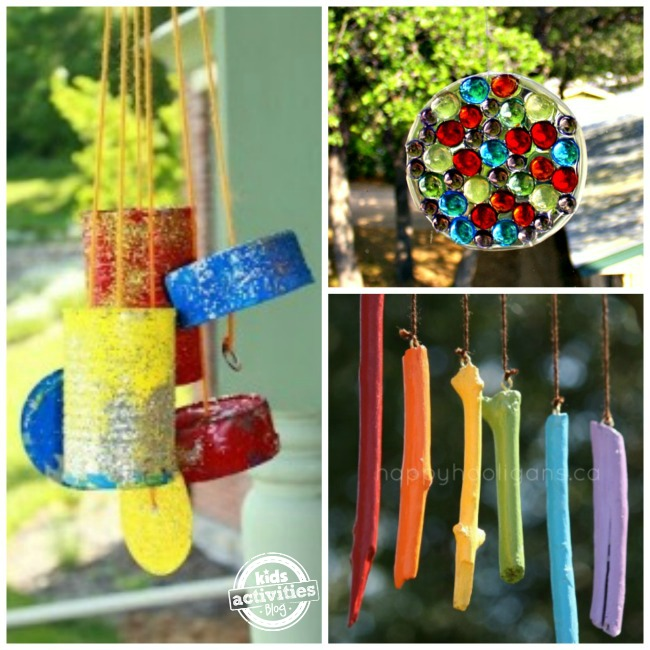 3 colorful outdoor craft projects: homemade can wind chimes, bead suncatcher and colorful hanging sticks