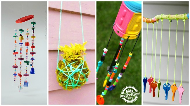 4 outdoor craft projects for kids: how to make a bead wind chime, easy hanging garden, preschool beaded wind chime and key wind chime to make at home