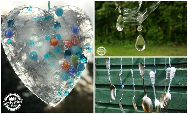 3 outdoor crafts to do with kids - hanging ice heart, water bottle whirly gigs, hanging flatware wind chimes