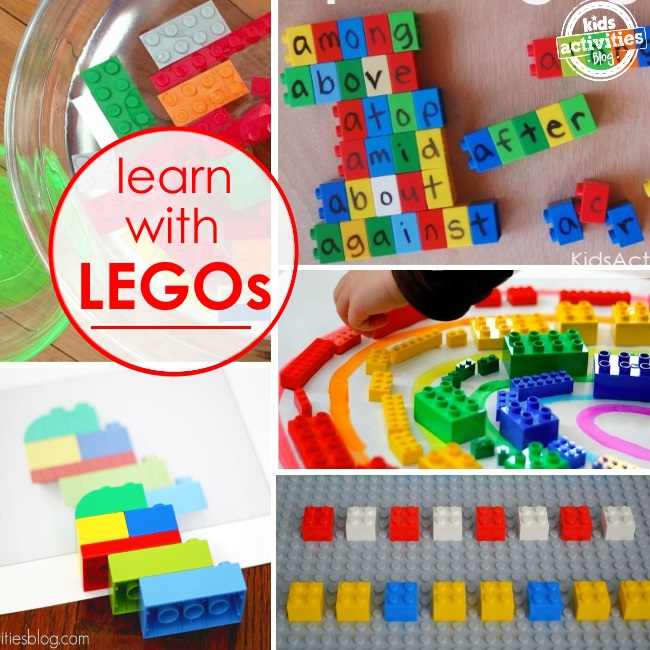 ideas of ways to learn with legos - 5 LEGO learning ideas pictured including letters on lego bricks