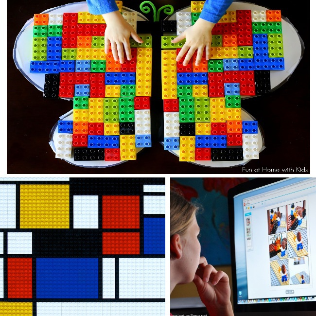 learning with legos including LEGO art ideas for kids - lego butterfly, lego art and lego building steps