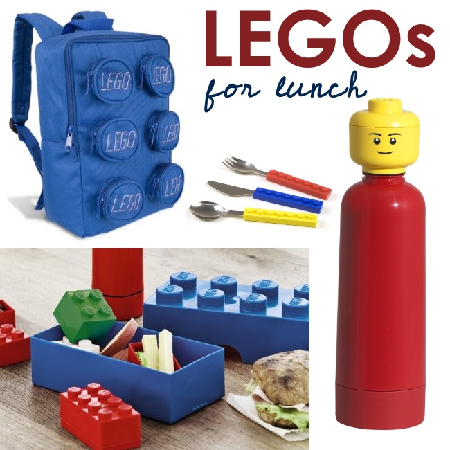 lego lunch products - ideas for LEGO lunchboxes and storage - lego back pack, lego silverware, lego bento and lego water bottle