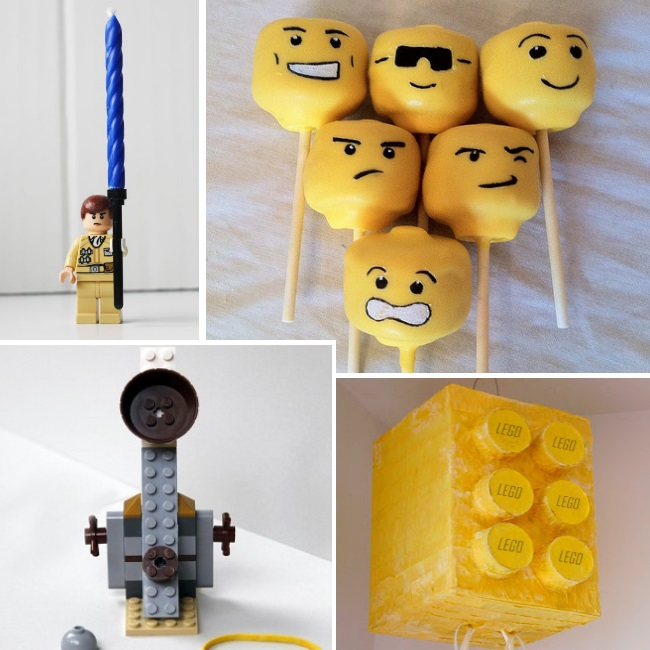 lego themed party ideas and tips for birthday parties, celebrations and more - minifigure candle holder, minifigure pops, brick pinata