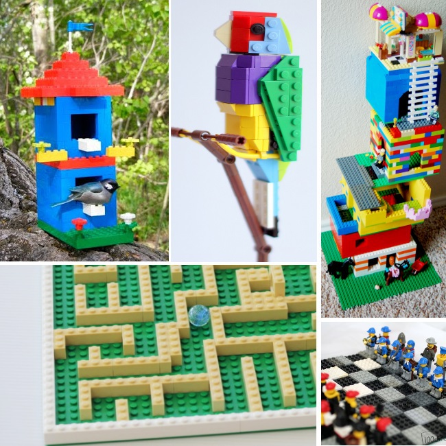 lots of ideas of things to build with LEGO - 5 ideas for LEGO builds - birdhouse, bird, tower, maze and chess set