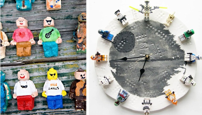 more crazy and geeky things to make with legos - 2 images of LEGO art ideas - minifigure clay and clock